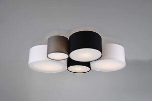 Trio Leuchten Hotel 693900517 5 Light Ceiling Fabric Shade White Black Grey BNIB