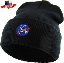 Spaceship Embroidered Cuffed Beanie Skully Patch Knit Hat Winter Cap