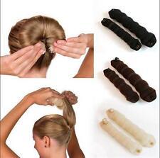 2pcs Sponge Hair Styling Bun Maker Tool Donut Former ring Shaper Magic Styler QA