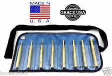 Grace USA 8pc Brass Roll Spring Pin Punch Set Gunsmith Gun Care MADE IN USA