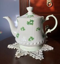 Queens Rosina Fine Bone China Teapot Shamrock St. Patrick's Day Made in England