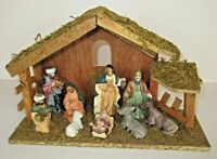 Christmas 11 Piece Nativity Set with Wood Stable