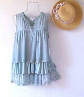 New~Aqua Mint Peasant Blouse Crochet Lace Layered Ruffle Boho Top~Size Medium M