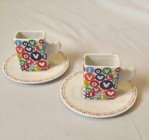 Loveramics Matchbox Set Of 2 Espresso Cups & Saucers Heart Design Boxed