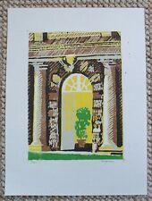 Original Linocut Print - multi-colour reduction print the Orangery Dyrham House