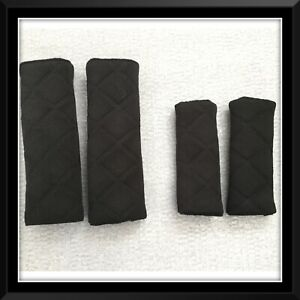 Pram baby car seat harness strap covers black quilted embossed fabric pushchair