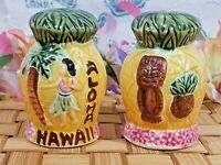 VTG Tiki Aloha Hawaii Pineapple Salt Pepper Shakers Palm Hula Dancers set