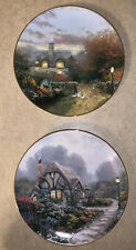 (2) Vintage Knowles Collector's Cottage Plates, Chandler's & Open Gate Cottage