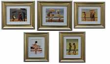 The Beach Collection by Jack Vettriano Set of 5 Framed & Mounted Art Prints Gold