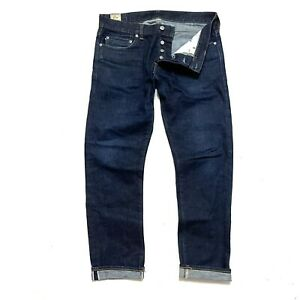 J Crew 32x30 Mens 484 Redline Selvedge Jeans Dark Blue Slim Fit Stretch Denim