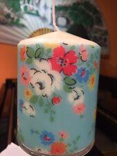 CATH KIDSTON CLIFTON ROSE BLUE DESIGN HAND DECORATED PILLAR CANDLE 11x8cm LTD!!