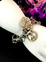 FABULOUS SIGNED LUCKY BRAND SILVER-TONE CHAIN LINK PEACE SIGN CHARM BRACELET