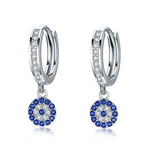 Happiness Luck Earrings Blue & Clear CZ .925 Sterling Silver Dangle Earrings