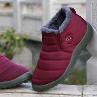 Women Letter Warm Fur Lining Flat Slip On Ankle Boots Winter Shoes Waterproof