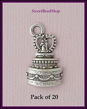 20 Antique Silver Colour 22 x 13mm Wedding Couple Wedding Cake Charms