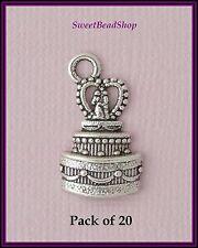 20 Antique Silver Colour 22 x 13mm Wedding Couple Wedding Cake Charms