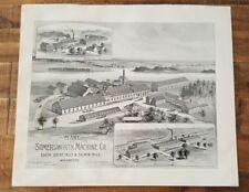 Antique Engraving-PLANT OF SOMERSWORTH MACHINE CO., N.HAMPSHIRE - 1892 ATLAS