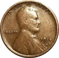 1914-S Lincoln Wheat Cent, Attractive VG to Fine, Problem-Free