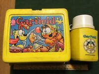 L@@K! ~VINTAGE~ GARFIELD 1978 LUNCH BOX & THERMOS YELLOW  SET COMPLETE 8OZ USA