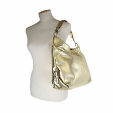 New Dooney & Bourke Medium Crinkle Leather Hobo Bag Gold