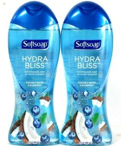 2 Bottles Softsoap 15 Oz Hydra Bliss Coconut Water & Blueberry Hydrate Body Wash
