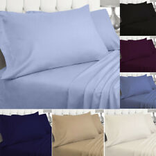 Luxury 200TC Plain Flat Fitted Bed Sheets 100%  Cotton Dyed High Quality