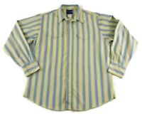 Wrangler Men Long Sleeve Shirt Pearl Snap Western Yellow Multi Color Stripe XL