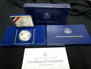 1987 S PROOF CONSTITUTION SILVER DOLLAR WITH BOX & COA