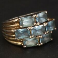 Gold Ring Size 4.75 - 6g Sterling Silver - Topaz Cluster Striped Tapered