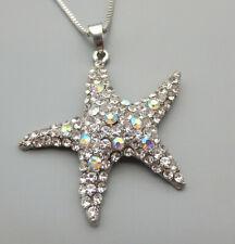Betsey Johnson AB Clear Crystal Rhinestone Starfish Pendant Sweater Necklace