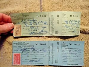 1949 & 1950 Michigan Resident Fishing Licenses with Trout Stamps good shape - NR