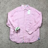 Tommy Bahama Line In The Sand Linen-Blend Button Down Shirt Men's SZ XL Pink