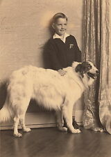 Smiling Lad With His Fashionable Borzoi Dog ~ C. - 1920