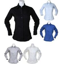 Ladies Women Kustom Kit Corporate Oxford Blouse Long Sleeve Cotton Rich Shirt