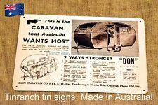 vintage *DON CARAVAN* tin SIGN ART new! retro AUSTRALIAN bondwood old advert