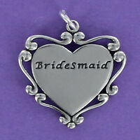 Bridesmaid Engraved Heart Charm Sterling Silver for Bracelet Scroll Edge Gift