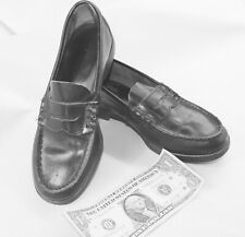 Vtg BLACK LEATHER LITTLE BOY PENNEY LOAFER SHOES 50s ROCKABILLY RETRO CHILD'S
