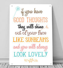 If you have Good thoughts Roald Dahl book quote WHITE metal sign wall art