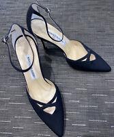 MANOLO BLAHNIK Black Sateen Heels UK 39/ US 9