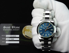 ROLEX Stainless Steel Milgauss BLUE Index Dial & GREEN Crystal 116400 SANT BLANC