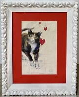 RICHARD GABRIEL CHASE Original Cat Calico Watercolor Signed Painting Listed CA
