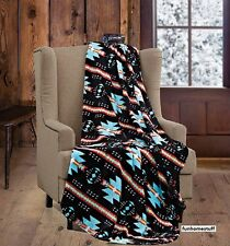 "Black Turquoise Native Soft Light Weight Fleece Cashmere Throw Blanket 60""x80"""