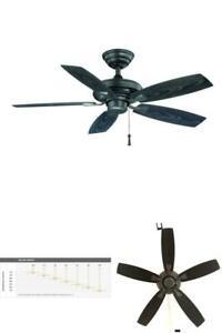 HAMPTON BAY 42 INCH Indoor Outdoor Ceiling Fan Large Room Patio Deck Quiet Black