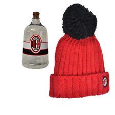 Abbigliamento Milan calcio Cappello rosso bimbo ponpon nero in box  18482 eb3aa51d8394