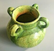 Antique Green Salt Glazed Terracota Amphora Olive Oil Jar 4 Handles