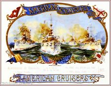 American Cruisers WWI Battle Ships Vintage Smoke Cigar Box Crate Label Art Print