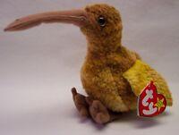 "TY Beanie Baby BEAK THE KIWI BIRD 4"" Bean Bag Stuffed Animal 1998 NEW"