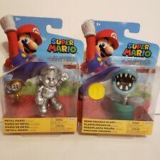 Super Mario Jakks Pacific Action Figures! Bone Piranha Plant & Metal Mario! NEW!