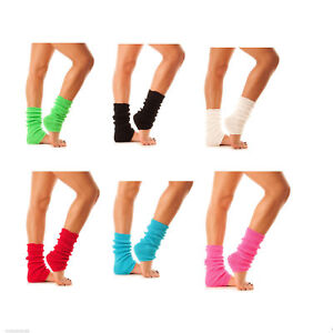 WOMENS GIRLS LEG WARMERS FOOTLESS SLOUCH SOCKS 80'S DANCE BALLET FANCY DRESS HEN