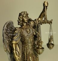 ST MICHAEL ARCHANGEL WEIGHING SOULS Figurine Statue Sculpture Bronze Finish